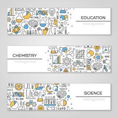 Set of Horizontal Banners with Science Symbols