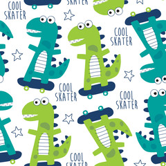 seamless cool skater dinosaur pattern vector illustration