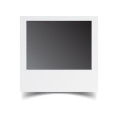 Blank retro photo frame on white isolated background. Vector illustration.
