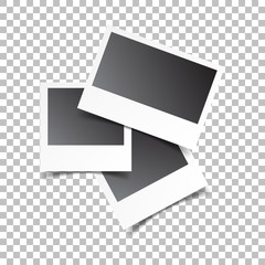 Blank retro photo frames on white isolated background. Vector illustration.