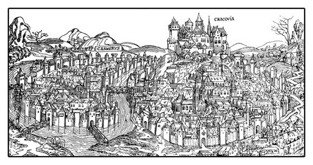 Antique map of Krakow on the Vistula river. The city was founded in 7th century