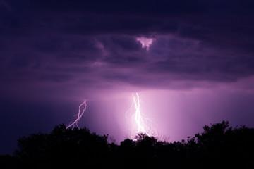 Lightning strike on the dark sky