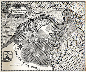 Vintage engraving Plan of St. Petersburg, a  fortress at the mouth of the Neva River on the Baltic sea in 1738