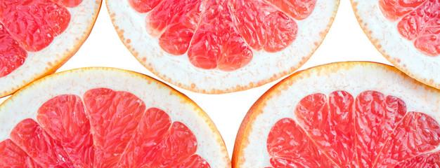 Panoramic bright and fresh lemon, orange, grapefruit for skinali. Colorful citrus fruit slices...
