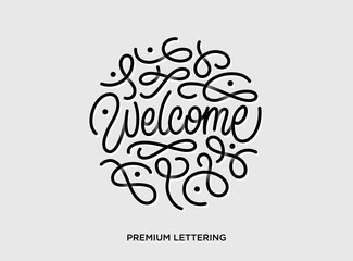 Welcome premium lettering vector illustration with beautiful shadows