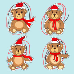 bears brown stickers in Christmas hats Santa Claus