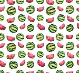 Seamless Repeat Pattern with Watercolor Fresh Watermelon