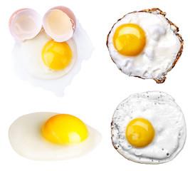 Aluminium Prints Egg fried egg set