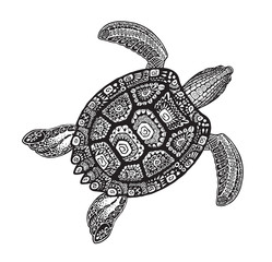 Turtle ethnic tribal style decorative ornament. Vector illustration