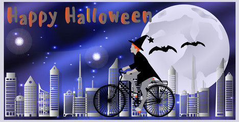 Vector illustration Cards for Happy Halloween. Witch riding a bicycle, followed by flying bats flying over the city on a moonlit night.