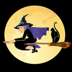 Halloween witch flying with a black cat on a full moon background