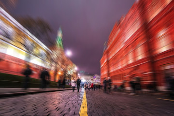 Blurred view of people along the entrance street to Red Square in Moscow