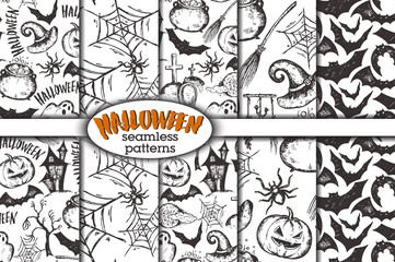 Vector set of five seamless patterns with sketch Halloween characters