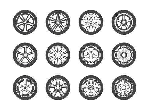 Wheel, tyre and tire collection of icons