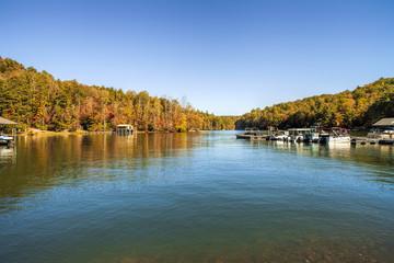 Fall Foliage, Lake in North Georgia, USA