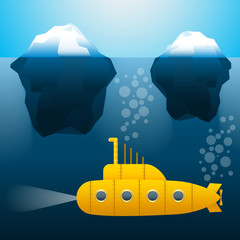 The submarine under the water. Icebergs. Cartoon style. Bright colors. Vector Image.