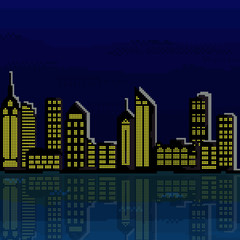 Illustration of pixel city. Vector of pixel art city .