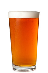 Pint Glass Beer Ale on White