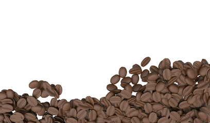 Coffee beans isolated background white area for copy space