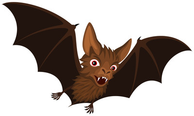 Vector illustration of a flying cartoon vampire bat.
