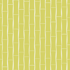Bamboo seamless pattern in green on cream background.