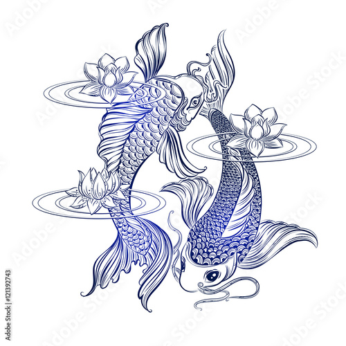 Koi carp tatoo fichier vectoriel libre de droits sur la for Carpe koi tarif