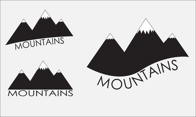 Mountains icon set. Black mountain silhouette isolated on white background. Vector illustration.