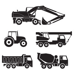 Construction trucks icons set isolated on white background. Vector collection of heavy equipment: Concrete mixer truck, Truck crane, Dump truck, Tractor and Excavator.