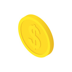 dollar cent coin isometric icon isolated
