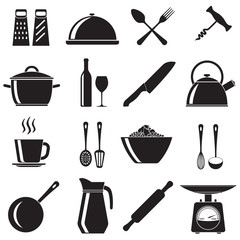 Kitchen and cooking icons set: pans, wine bottle and glass, spoon, fork, knife, kettle, cup. Vector illustration isolated on white background.