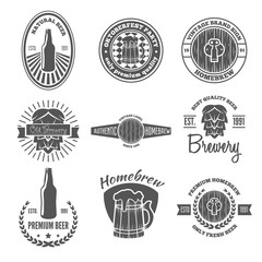 Set of vintage logo, badge, emblem or logotype elements for beer, shop, home brew, tavern, bar, cafe and restaurant