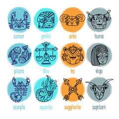 Set of doodle style zodiac signs. Funny Horoscope. Vector illustration
