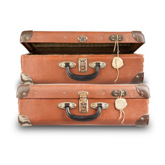 pile of luggage isolated