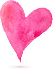 Watercolor painted heart, vector element for your design