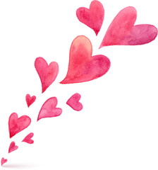 Pink watercolor painted vector flying hearts spring