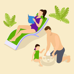 Family Vacation Isometric Composition