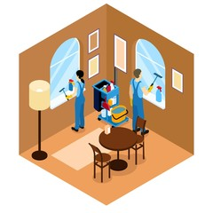 Windows Cleaning Isometric Design