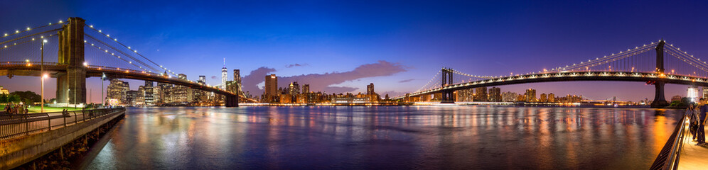 Printed kitchen splashbacks Brooklyn Bridge Manhattan Skyline Panorama mit Manhattan Bridge und Brooklyn Bridge
