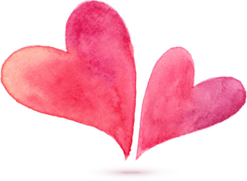 Pair of watercolor painted hearts, vector elements for your design