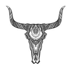 Decorative bull skull in tattoo tribal style. Hand drawn vector illustration