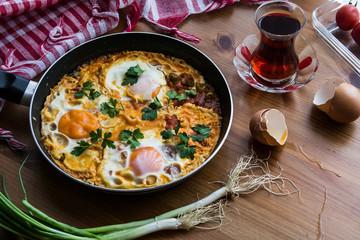 Turkish Breakfast Menemen / Omelette (Fried Eggs) with Tea.
