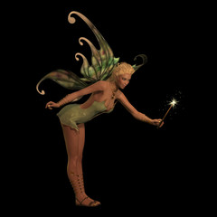Fairy Anouk on Black - A fairy is a creature of folklore and legend and has pointed long ears, is small in stature and has wings.