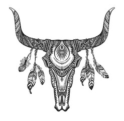 Bull skull with feathers. Hand drawn sketch native american totem