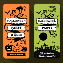 halloween party poster. card. invitation. vector illustration.