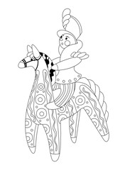 The rider on a horse. Dymkovo toy. Vector illustration of a black line. It can be used for coloring.