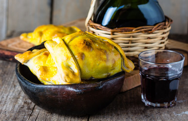 Latin American food. Chilean empanadas with meat and onion