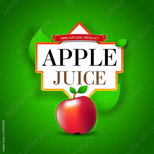 Apple Juice label design  Bright Apple juice poster template