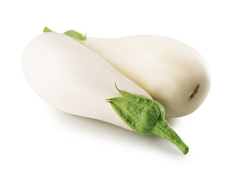 white eggplant isolated on the white background