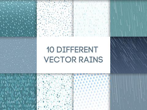 Rain drops pattern vector set.