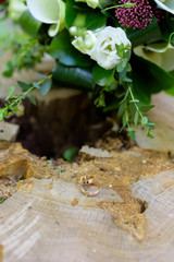 weddings rings lie on a hemp in-field on nature